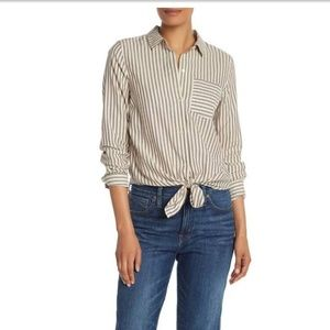 Madewell Striped Tie Front Long Sleeve Shirt L